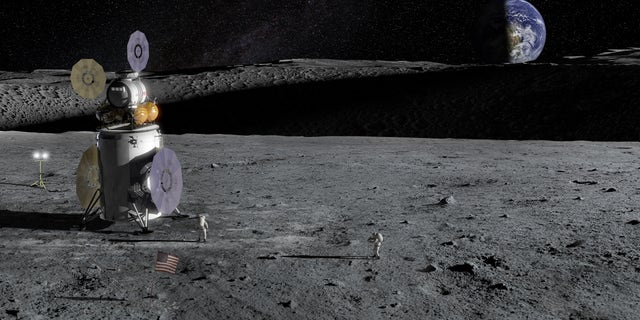 Artist's impression of the Artemis Lander on the lunar surface. (NASA)