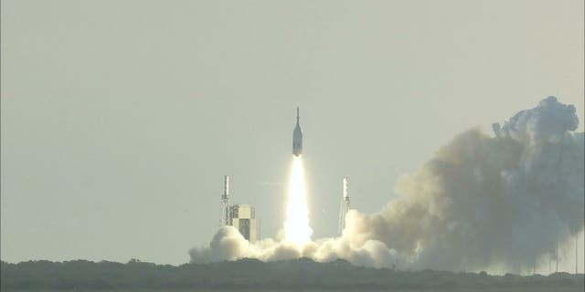 The Orion capsule was launched on a modified Peacekeeper missile.