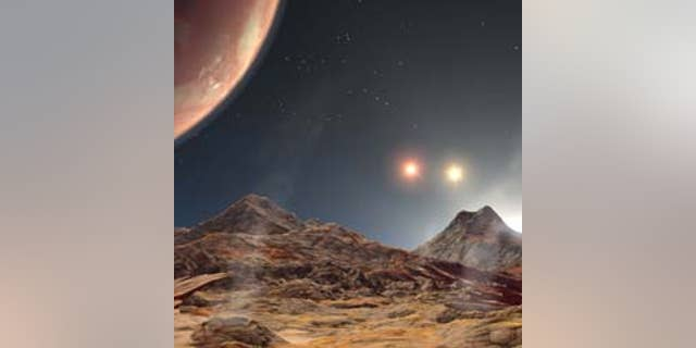 File image - artist's animation shows the view from a hypothetical moon in orbit around HD 188753 Ab, the first known planet to reside in a tight-knit triple-star system.