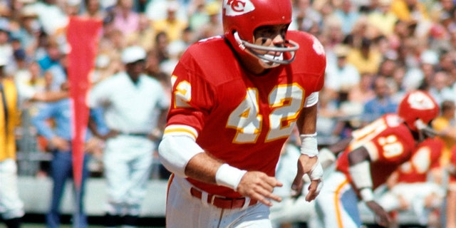 FILE - In this undated photo, Kansas City Chiefs football player Johnny Robinson is shown. Robinson will be inducted into the Pro Football Hall of Fame in Canton, Ohio on Aug. 3, 2019. (The Kansas City Star via AP)