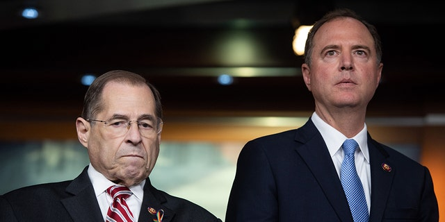 US Representative Jerrold Nadler (D-NY), Chairman of the House Judiciary Committee, and US Representative Adam Schiff (D-CA), Chairman of the House Intelligence Committee, will lead the review -- with Schiff in charge. (Photo by SAUL LOEB / AFP) (Photo credit should read SAUL LOEB/AFP/Getty Images)