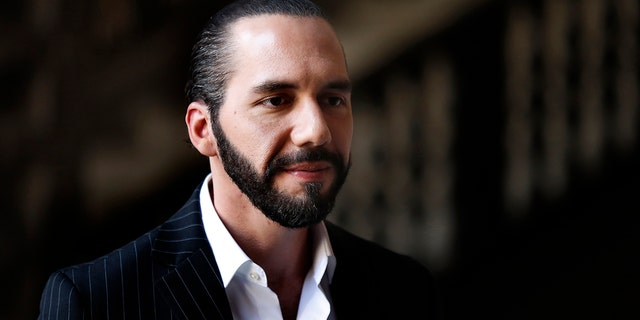 FILE - In this March 12, 2019 file photo, El Salvador's President-elect Nayib Bukele speaks to the press at Mexico's National Palace after meeting with the President Andres Manuel Lopez Obrador in Mexico City. (AP Photo/Marco Ugarte, File)
