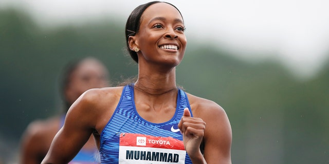 Dalilah Muhammad checks her time after winning the women's 400-meter hurdles at the U.S. Championships athletics meet, Sunday, July 28, 2019, in Des Moines, Iowa. (AP Photo/Charlie Neibergall)
