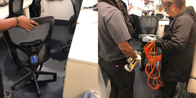 Vacuums had to clean press workspace in the basement near the White House's West Wing that got soaked by rainwater on Monday.