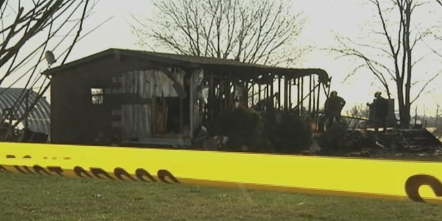 The scene of the April 6, 2008 fire that killed three members of the Romans family in Madison County, Ohio.