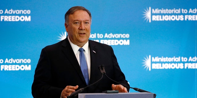 Secretary of State Mike Pompeo speaks at the Ministerial to Advance Religious Freedom, Tuesday, July 16, 2019, at the U.S. State Department in Washington. (AP Photo/Patrick Semansky)