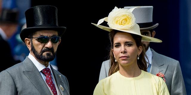 Princess Haya Bint Al Hussein and Sheikh Mohammed Bin Rashid Al Maktoum attend Derby day at Epsom Derby festival at Epsom Downs on June 3, 2017 in Epsom, England.