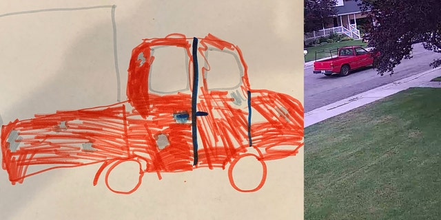 A photo of suspect vehicle drawn by a 9-year-old girl in Utah, and the truck police were able to identify in a surveillance video.