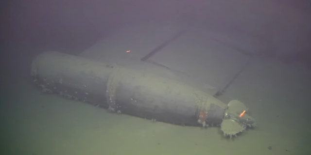 A torpedo at the wreck site. (Institute of Marine Research Norway/Ægir 6000 )