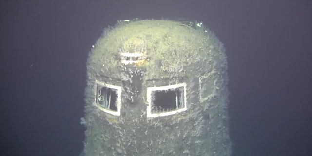 The submarine's conning tower.