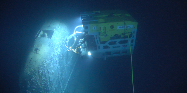 The Remotely-Operated Vehicle (ROV) AEgir 6000 operative on a submarine wreck. (Institute of Marine Research Norway/Ægir 6000)
