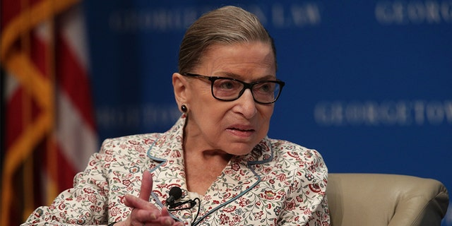 U.S. Supreme Court Associate Justice Ruth Bader Ginsburg participates in a discussion at Georgetown University Law Center July 2, 2019 in Washington. (Getty Images)