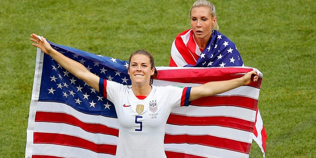 United States' Kelley O Hara celebrates winning a Women's World Cup final soccer compare between US and The Netherlands during a Stade de Lyon in Decines, outward Lyon, France, Sunday, Jul 7, 2019. (AP Photo/Francois Mori)