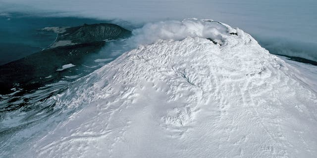 An aerial view of Mount Michael Volcano.