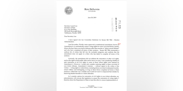 The governor's letter to the Secretary of State on Bill 7066.