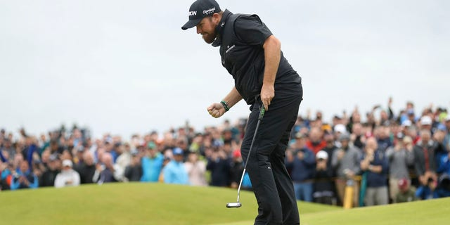 Ireland's Shane Lowry reacts after making a birdie on the 15th green during the final round of the British Open Golf Championships at Royal Portrush in Northern Ireland, Sunday, July 21, 2019.