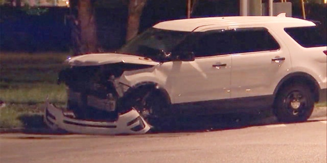 The unmarked patrol car after Monday night's crash.