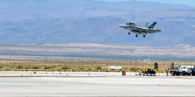 An F/A-18 Super Hornet aircraft lands at at Naval Air Weapons Station China Lake in California earlier this month.
