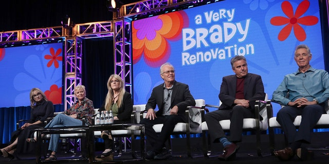 "Members of ""The Brady Bunch,"" cast, from left, Maureen McCormick, Eve Plumb, Susan Olsen, Mike Lookinland, Christopher Knight and Barry Williams participate in HGTV's ""A Very Brady Renovation"" panel at the Television Critics Association Summer Press Tour on Thursday, July 25, 2019, in Beverly Hills, Calif. (Photo by Willy Sanjuan/Invision/AP)"