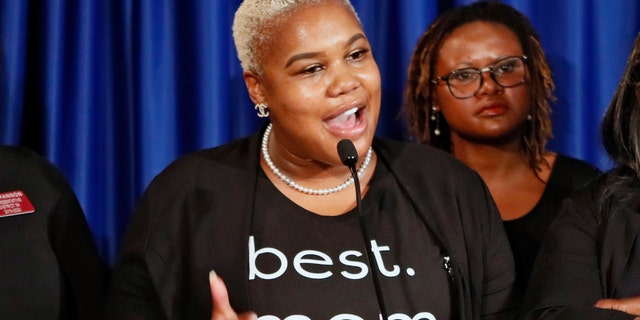 FILE - In this May 7, 2019 file photo Rep. Erica Thomas, D-Austell, speaks during a news conference in Atlanta. (Bob Andres/Atlanta Journal-Constitution via AP)