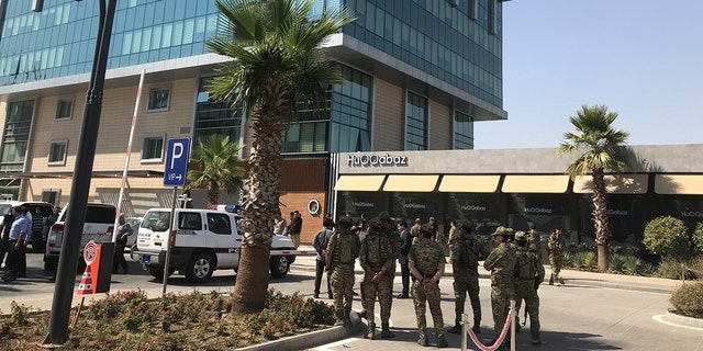 Security forces take measures after a Turkish consulate employee was killed in an armed attack on a restaurant in Erbil, Iraq on July 17, 2019.