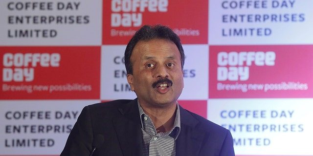 FILE PHOTO: V.G. Siddhartha, chairman of Coffee Day Enterprises Ltd, speaks during a news conference in Mumbai, India, October 7, 2015. REUTERS/Shailesh Andrade/File Photo - RC16E01454B0