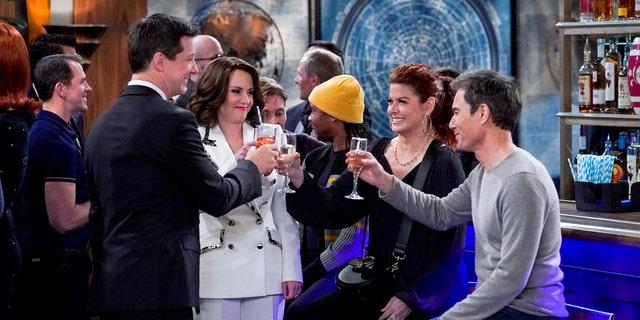 Left to right, Sean Hayes as Jack McFarland, Megan Mullally as Karen Walker, Debra Messing as Grace Adler, Eric McCormack as Will Truman. (Photo by: Chris Haston/NBC)