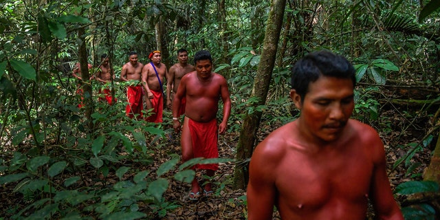 Waiapi men walk into the jungle at the Waiapi indigenous reserve in Amapa state in Brazil on October 14, 2017. (APU GOMES/AFP/Getty Images)
