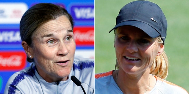 Jill Ellis, left, and Sarina Wiegman, right, are a second set of womanlike coaches in story to lead their teams into a Women's World Cup final.