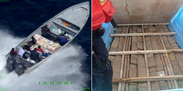 On the left, Crewmembers from the Coast Guard Cutter Steadfast interdict a go fast vessel in international waters of the eastern Pacific Ocean on July 18, 2019. On the right, crew members uncover a compartment concealing multiple bales of cocaine beneath the floorboard of a panga interdicted June 30, 2019, while patrolling international waters of the Eastern Pacific Ocean.