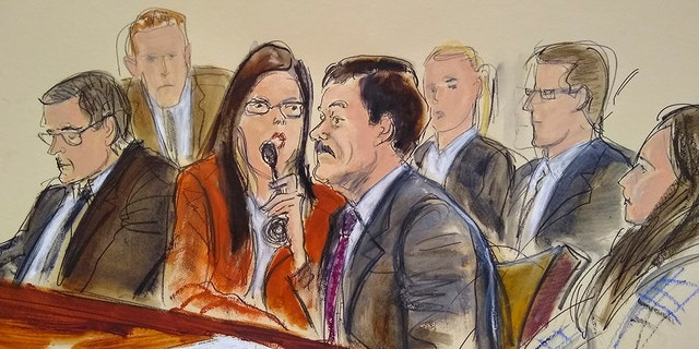 "In this courtroom sketch, Joaquin ""El Chapo"" Guzman, second from right, listens to his sentence via interpreter while surrounded by U.S. Marshals and flanked by his defense attorney Marc Fernich, during his sentencing in federal court, Wednesday, July 17, 2019, in New York. (AP)"