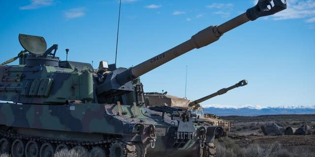 148th Field Artillery Regiment of a 116th Cavalry Brigade Combat Team, conducts association margin artillery gunnery Mar. 4, 2019, The Orchard Combat Training Center.