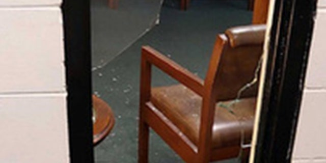 Broken potion in Seminole Heights Baptist Church after a pirate pennyless into a church early Thursday morning. (FOX 13)
