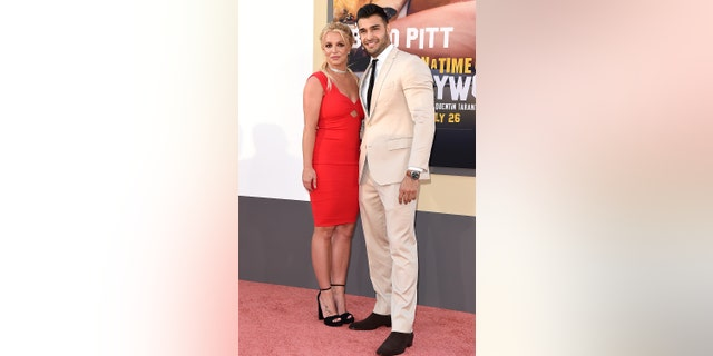 """Britney Spears and Sam Asghari attend Sony Pictures' """"Once Upon a Time ... in Hollywood"""" Los Angeles Premiere on July 22, 2019 in Hollywood. It was their first red carpet appearance together."""