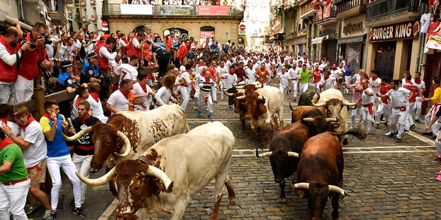 Westlake Legal Group bulls2 American man gored in the neck during Spain's running of the bulls said it felt ' like being hit by a car or a truck' Paulina Dedaj fox-news/world/world-regions/spain fox-news/world/world-regions/europe fox news fnc/world fnc article 5af1b95b-7bb4-5f1f-87a8-33c7681fc137