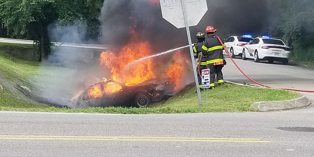 """According to court documents, when Zimmerman was taken into custody his car was """"completely engulfed in flames."""" Firefighters responded and extinguished the fire."""