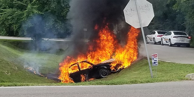 Wanda Humphries Goff of Knoxville told Fox News she spotted a car on fire on Sunday and took photos, saying Travis Zimmerman risked a lot of lives.