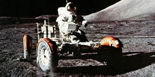 Cernan at the helm of the LRV.
