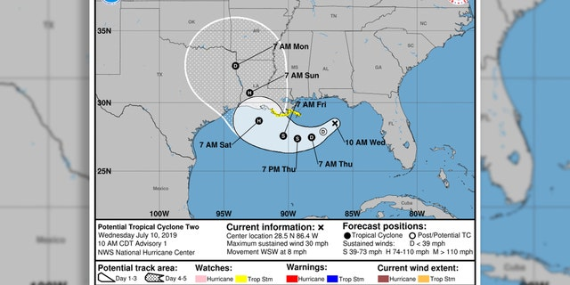 The potential forecast track of Barry, which is forecast to be a tropical storm by Thursday night and hurricane by Friday.