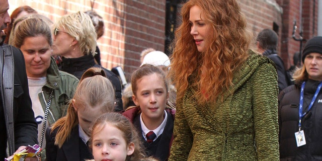 "Nicole Kidman with daughters Sunday Rose Kidman Urban and Faith Margaret Kidman Urban after filming scenes of her new film ""The Undoing"" on March 19, 2019 in New York City."