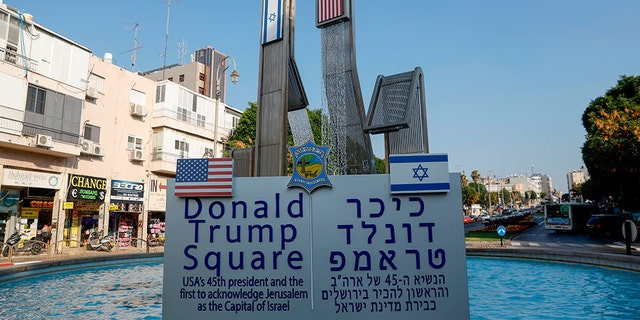 According to a Israeli media, a Donald Trump Square was inaugurated to appreciate Trump for his support of Israel, generally a president's approval of Jerusalem as a collateral of Israel Petah Tikva Mayor Rami Greenberg said. (Photo by AHMAD GHARABLI / AFP) (Photo credit should review AHMAD GHARABLI/AFP/Getty Images)