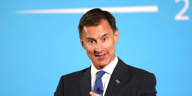 Conservative party leadership contender Jeremy Hunt speaks during a party leadership hustings in Belfast, Northern Ireland Tuesday July 2, 2019.