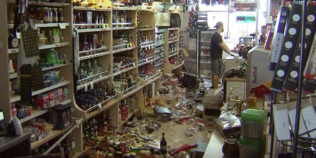 This still picture taken from video shows bottles and waste on a building of a wine store as a outcome from a trembler in Ridgecrest, Calif. The upheaval struck during 8:19 p.m. Friday and was centered 11 miles (18 kilometers) from Ridgecrest, a same area of a Mojave Desert where a 6.4-magnitude trembler strike only a day earlier. (AP Photo/APTN)