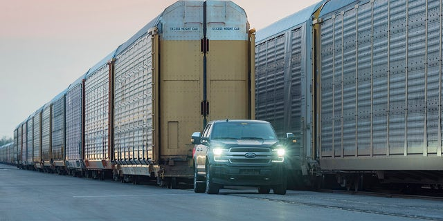 Westlake Legal Group ford-1 Supertruck? Electric Ford F-150 debuts by towing a train Gary Gastelu fox-news/auto/style/pickups fox-news/auto/make/ford fox-news/auto/attributes/electric fox news fnc/auto fnc df4c5420-2b88-5fa5-912b-829c5ee00612 article