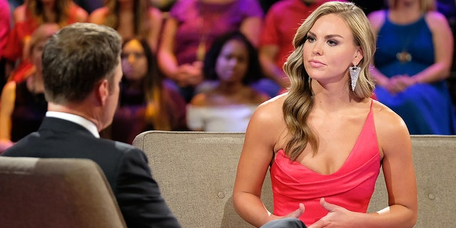 """Hannah B. talks to """"Bachelorette"""" host Chris Harrison on night two of the show's finale."""