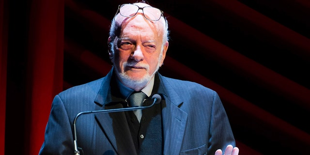 "In this Nov. 17, 2014 file photo, Harold ""Hal"" Prince appears on stage at ""Everybody, Rise! A Celebration of Elaine Stritch"" in New York. Prince, who pushed the boundaries of musical theater with such groundbreaking shows as ""The Phantom of the Oepra,"" ""Cabaret,"" ""Company"" and ""Sweeney Todd"" and won a staggering 21 Tony Awards, died Wednesday, July 31, 2019, after a brief illness in Reykjavik, Iceland. He was 91."