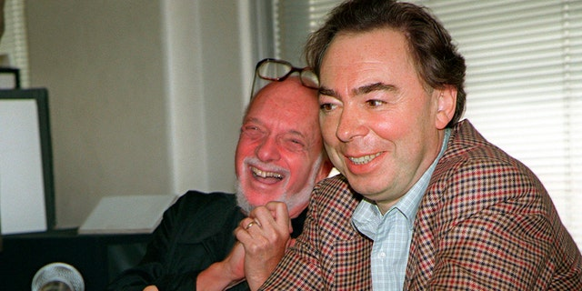"This Oct. 21, 1996 file photo shows Harold Prince, left, and Andrew Lloyd Webber, face reporters during a news conference in New York announcing Webber's new musical, ""Whistle Down The Wind."" Prince, who pushed the boundaries of musical theater with such groundbreaking shows as ""The Phantom of the Oepra,"" ""Cabaret,"" ""Company"" and ""Sweeney Todd"" and won a staggering 21 Tony Awards, died Wednesday, July 31, 2019, after a brief illness in Reykjavik, Iceland. He was 91."