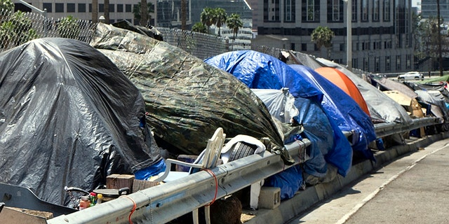 A homeless person sits at his tent along the Interstate 110 freeway in downtown Los Angeles in May 2018. Mayor Eric Garcetti is paying a political price for the city's homeless crisis. An effort is underway to recall the two-term Democrat from office prompted by widespread complaints about homeless encampments throughout the city. (AP Photo/Richard Vogel, File)