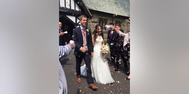 The pair married at St Peter's Church in Salesbury, Lancs., just days before James's graduation from Manchester Medical School and Amy's graduation from Lancaster University.