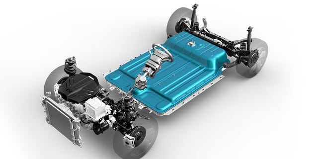 The Kona Electric has a floor-mounted battery with a 64 kilowatt-hour capacity.